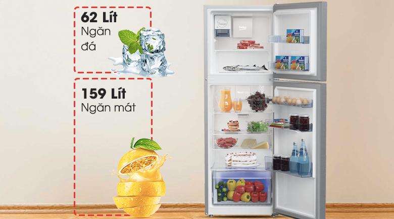 Dung tích - Tủ lạnh Beko RDNT250I50VZX