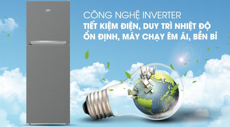 Tủ lạnh Beko RDNT250I50VZX - Công nghệ Prosmart Inverter tiết kiệm điện, hoạt động êm