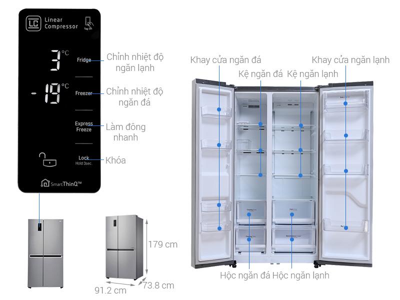 Thông số kỹ thuật Tủ lạnh LG Inverter 626 lít GR-B247JS