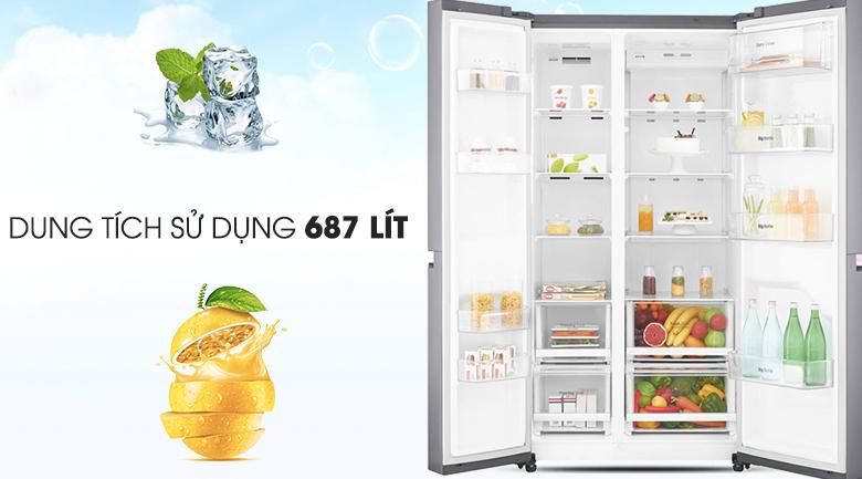 Tủ lạnh phù hợp cho gia đình có đông thành viên - Tủ lạnh LG Inverter 626 lít GR-B247JS