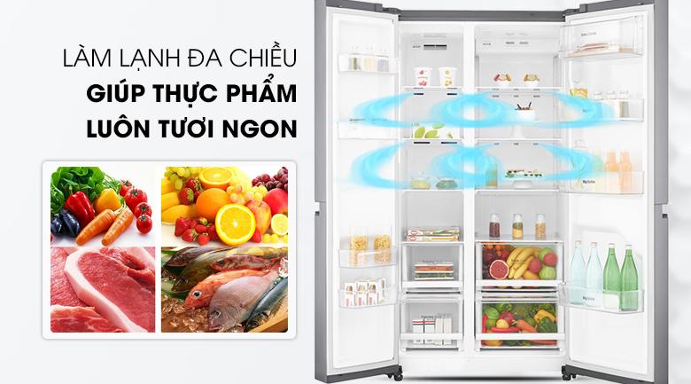 Làm lạnh nhanh với hệ thống làm lạnh đa chiều - Tủ lạnh LG Inverter 626 lít GR-B247JS