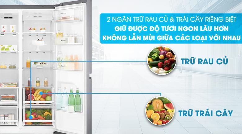 Ngăn trữ rau củ và trái cây riêng biệt - Tủ lạnh LG Inverter 626 lít GR-B247JS