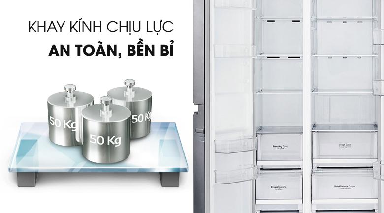 Khay kính an toàn bền bỉ - Tủ lạnh LG Inverter 626 lít GR-B247JS