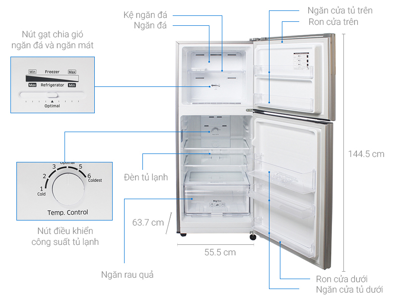 Thông số kỹ thuật Tủ lạnh Samsung 208 lít RT20K300ASE/SV