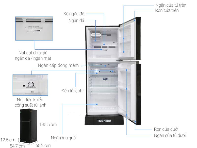 Thông số kỹ thuật Tủ lạnh Toshiba Inverter 186 lít GR-M25VMBZ(UKG)