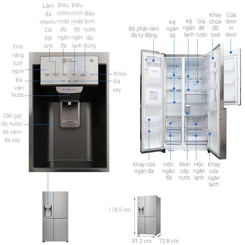 Thông số kỹ thuật Tủ lạnh LG Inverter 601 lít GR-P247JS