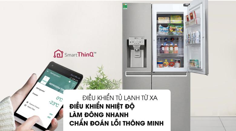 Điều khiển tủ qua điện thoại thông minh - Tủ lạnh LG Inverter 601 lít GR-P247JS