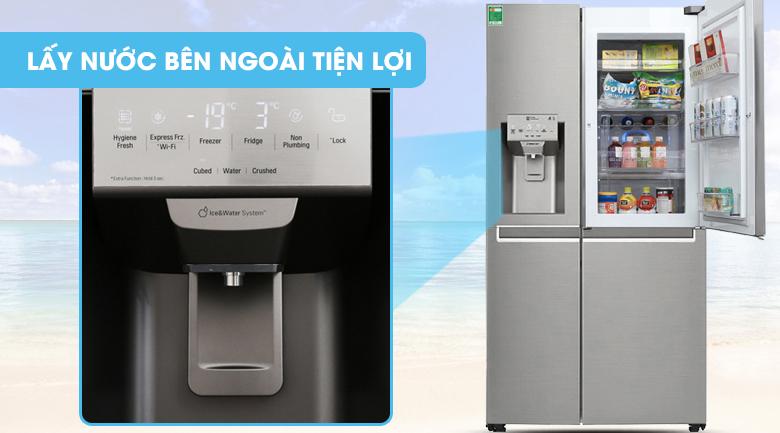 Trang bị ngăn lấy nước bên ngoài tiện dụng - Tủ lạnh LG Inverter 601 lít GR-P247JS