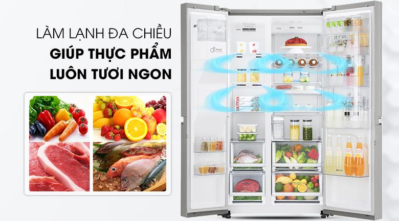 Làm lạnh nhanh hơn với hệ thống làm lạnh đa chiều - Tủ lạnh LG Inverter 601 lít GR-P247JS