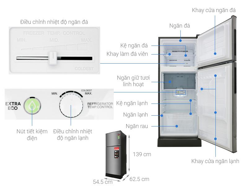 Thông số kỹ thuật Tủ lạnh Sharp Inverter 182 lít SJ-X201E-DS
