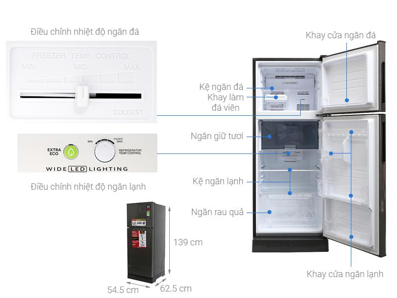 Thông số kỹ thuật Tủ lạnh Sharp Inverter 196 lít SJ-X201E-DS