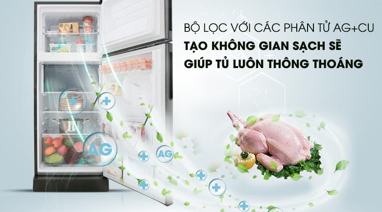 Khử mùi Ag+Cu-  Tủ lạnh Sharp Inverter 196 lít SJ-X201E-DS