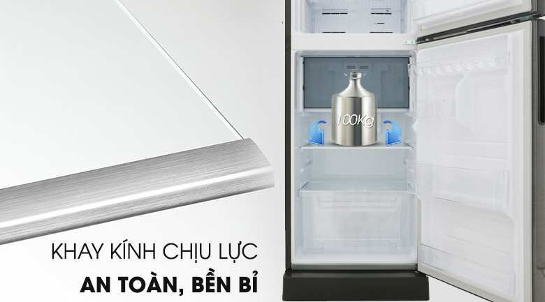 Kính chịu lực -  Tủ lạnh Sharp Inverter 196 lít SJ-X201E-DS