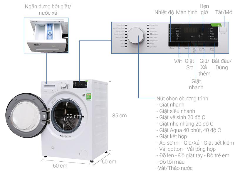 Thông số kỹ thuật Máy giặt Beko inverter 9 kg WMY 91283 PTLB2