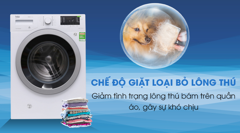 Chế độ giặt loại bỏ lông thú - Máy giặt Beko inverter 9 kg WMY 91283 PTLB2