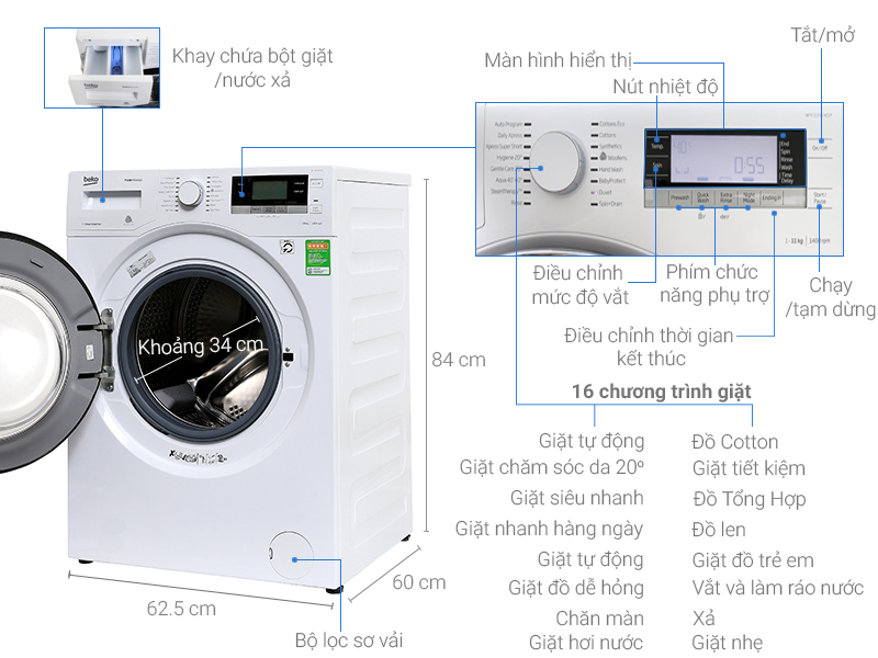 Thông số kỹ thuật Máy giặt Beko Inverter 11kg  WTE 11735 XCST