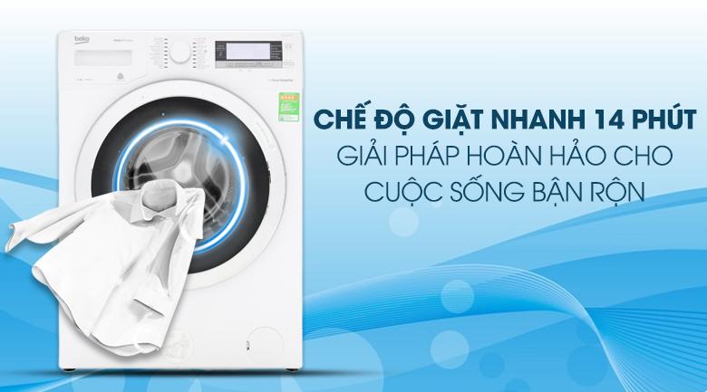 Chế độ giặt nhanh 14 phút - Máy giặt Beko Inverter 11kg WTE 11735 XCST