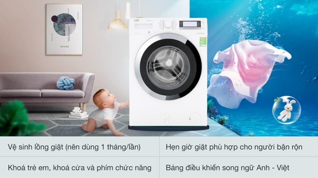 Giặt nước nóng - Máy giặt Beko Inverter 11kg WTE 11735 XCST