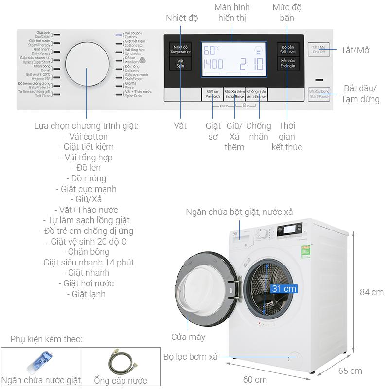 Thông số kỹ thuật Máy giặt Beko Inverter 10 kg WY104764MW