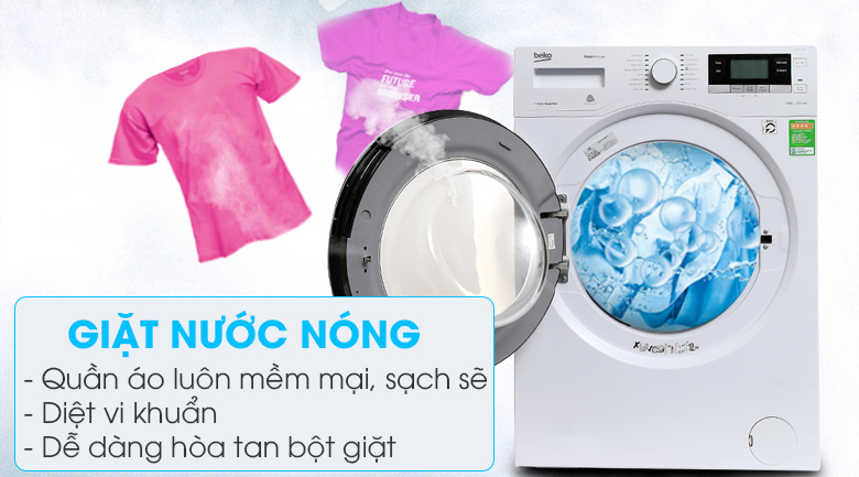 Giặt nước nóng - Máy giặt Beko Inverter 10 kg WY104764MW