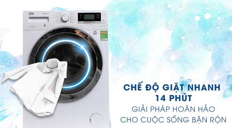 Chế độ giặt nhanh 14 phút - Máy giặt Beko Inverter 10 kg WY104764MW