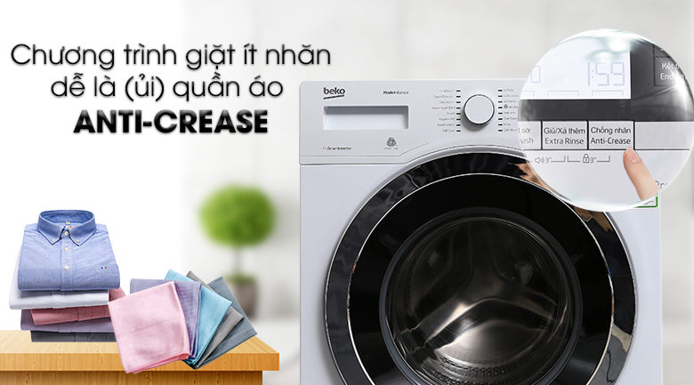Chương trình giặt Anti-Crease - Máy giặt Beko Inverter 10 kg WY104764MW