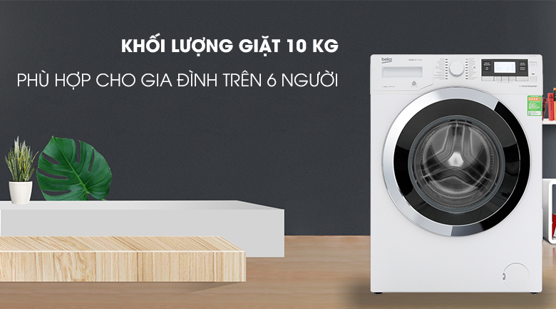 Máy giặt Beko Inverter 10 kg WY104764MW - Khối lượng