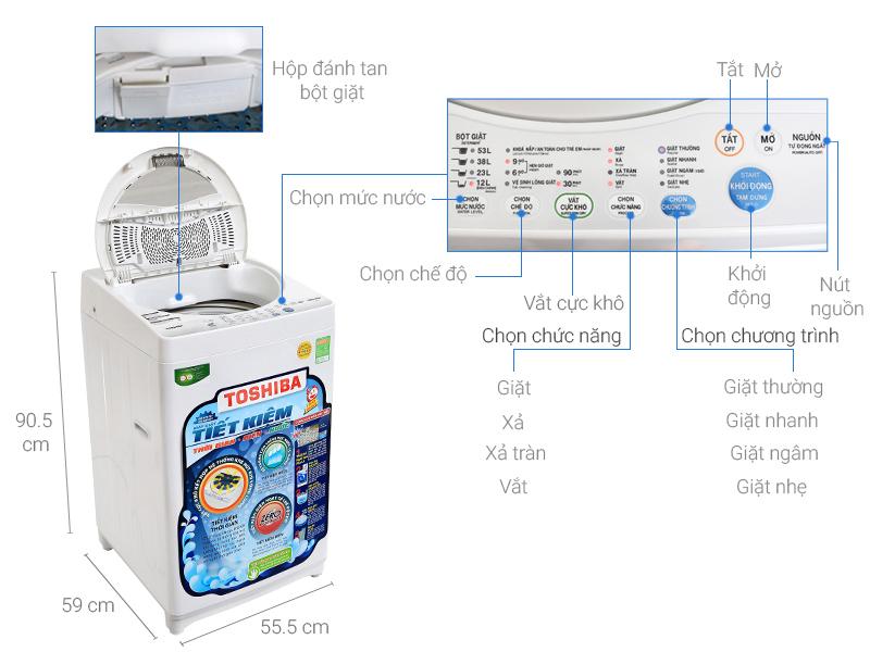 Thông số kỹ thuật Máy giặt Toshiba 7 kg AW-A800SV WG