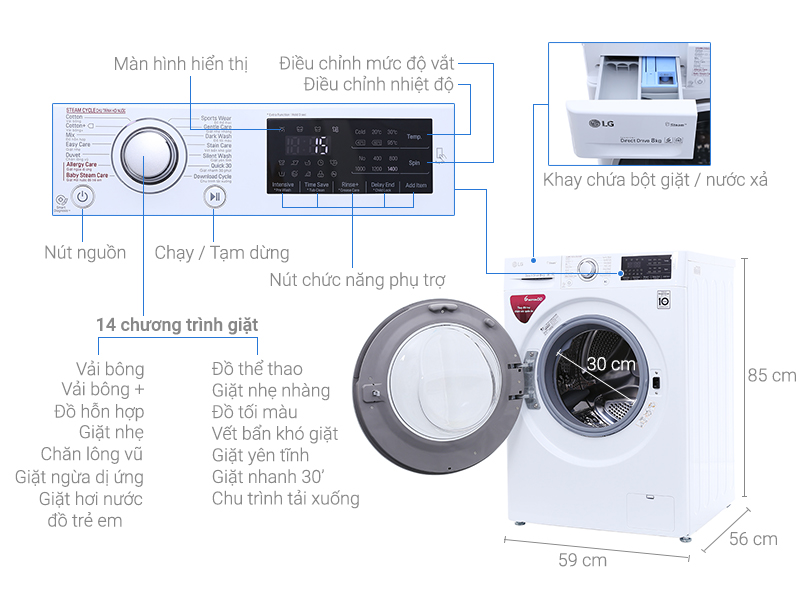 Thông số kỹ thuật Máy giặt LG Inverter 8 kg FC1408S4W1
