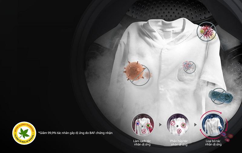 Công nghệ giặt hơi nước loại bỏ 99,9% vi khuẩn trong quần áo