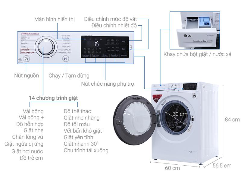 Thông số kỹ thuật Máy giặt LG Inverter 8 kg FC1408S4W2