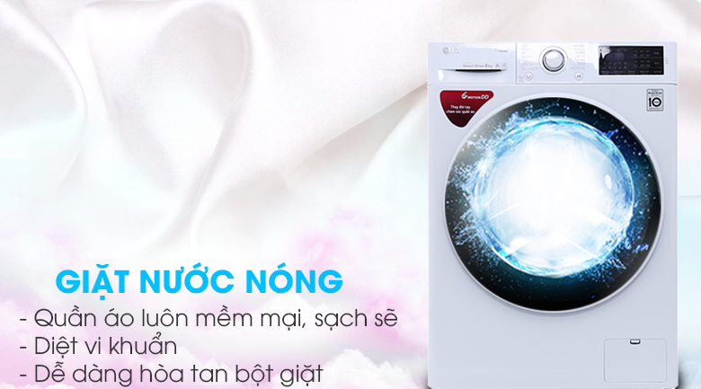 Giặt nước nóng - Máy giặt LG inverter 8 kg FC1408S4W2