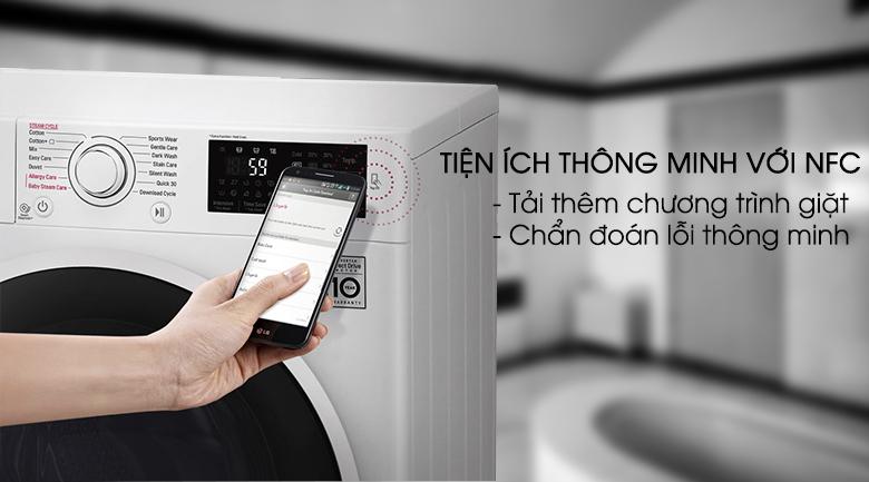 Chẩn đoán thông minh bằng điện thoại - Máy giặt LG inverter 8 kg FC1408S4W2