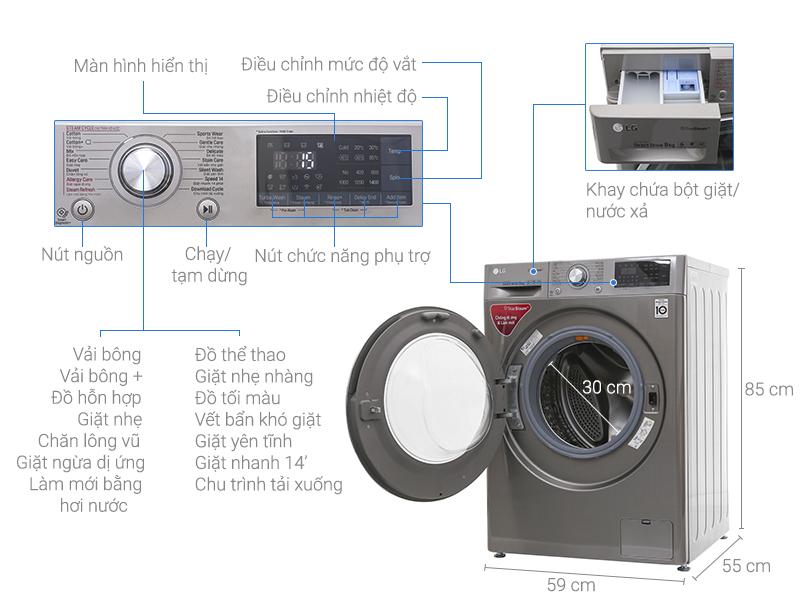 Thông số kỹ thuật Máy giặt LG Inverter 9 kg FC1409S2E