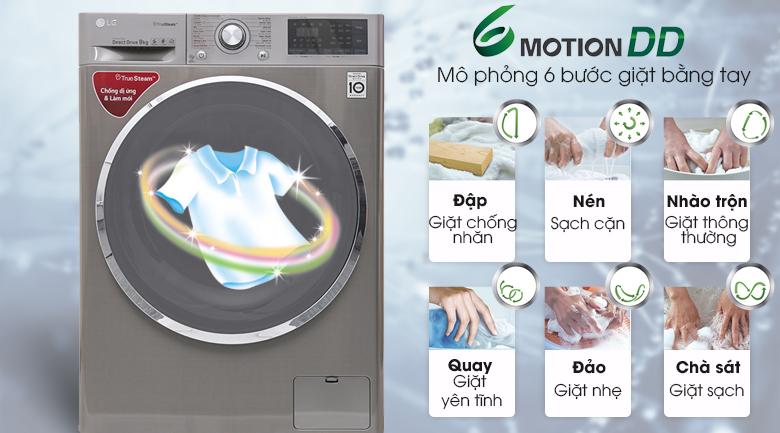 Công nghệ giặt 6 chuyển động - Máy giặt LG inverter 9 kg FC1409S2E