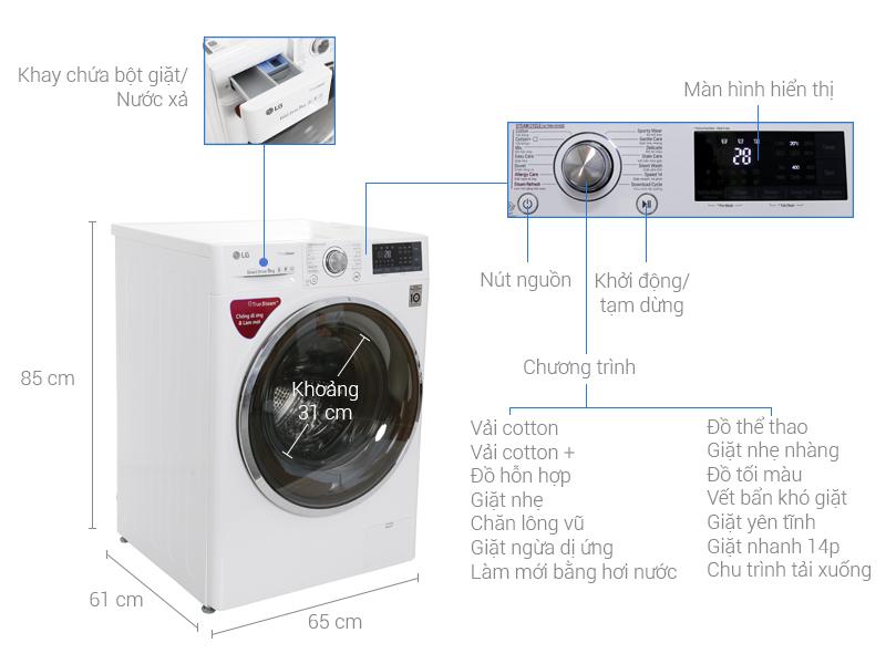 Thông số kỹ thuật Máy giặt LG Inverter 9 kg FC1409S2W