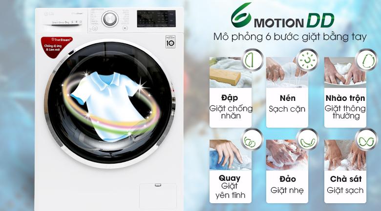 Công nghệ giặt mô phỏng bàn tay con người - Máy giặt LG Inverter 9 kg FC1409S2W