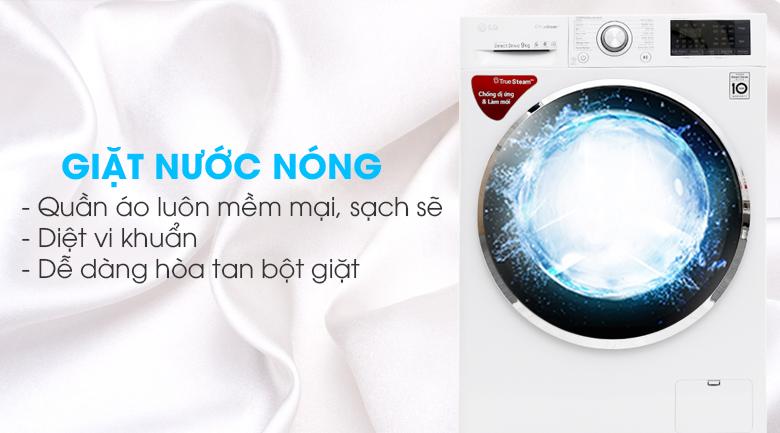 Giặt nước nóng - Máy giặt LG Inverter 9 kg FC1409S2W