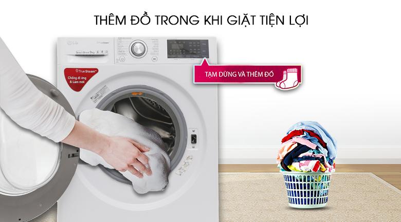 Thêm đồ trong lúc giặt - Máy giặt LG Inverter 9 kg FC1409S2W