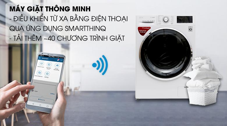 Điều khiển từ xa qua điện thoại với ứng dụng SmartThinQ- Máy giặt LG Inverter 9 kg FC1409S2W