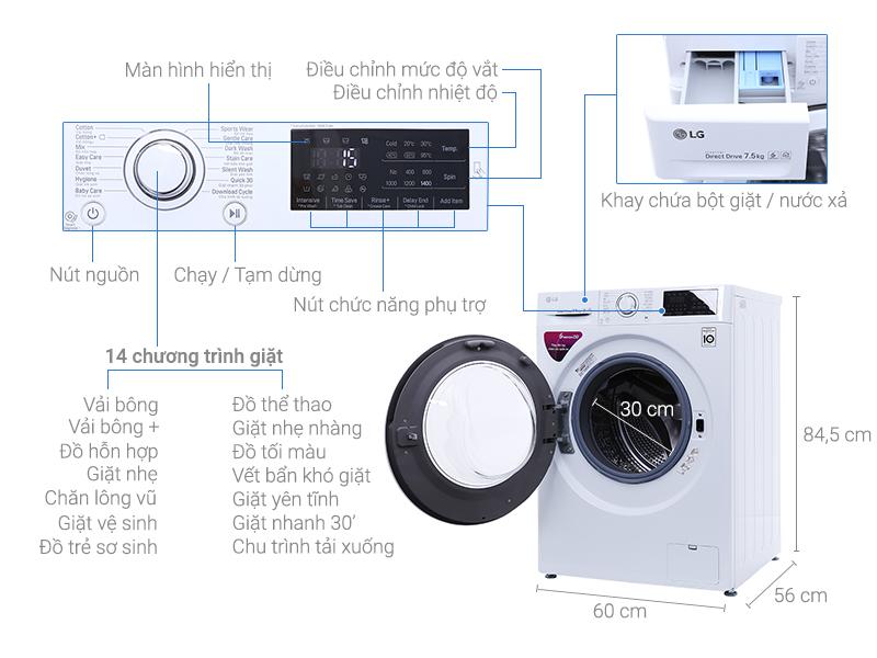 Thông số kỹ thuật Máy giặt LG Inverter 7.5 kg FC1475N5W2