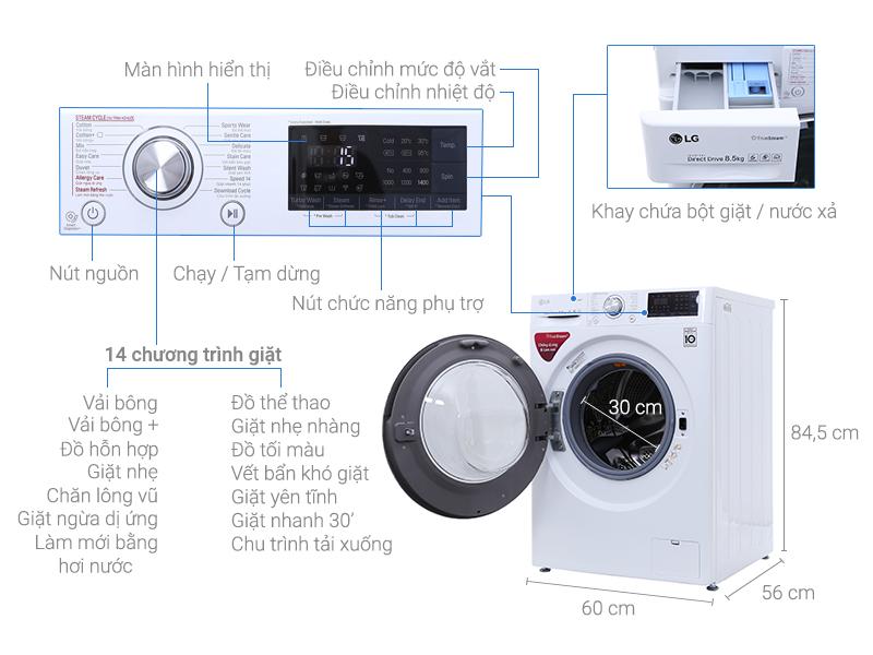 Thông số kỹ thuật Máy giặt LG Inverter 8.5 kg FC1485S2W