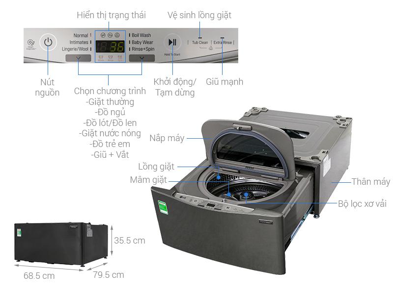 Thông số kỹ thuật Máy giặt LG TWINWash Mini 3.5 kg T2735NWLV