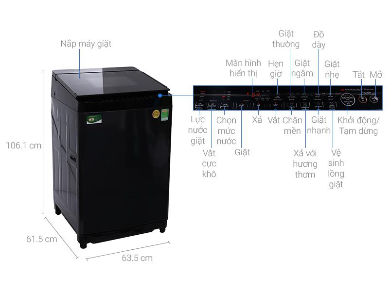 Thông số kỹ thuật Máy giặt Toshiba Inverter 14 kg AW-DG1500WV (KK)