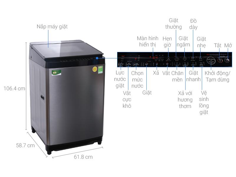 Thông số kỹ thuật Máy giặt Toshiba Inverter 15 kg AW-DG1600WV (SK)