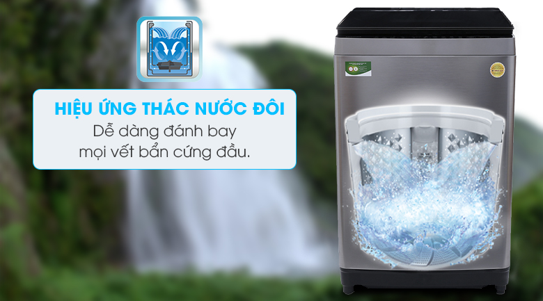 Hiệu ứng thác nước đôi - Máy giặt Toshiba Inverter 16 kg AW-DUG1700WV (SS)
