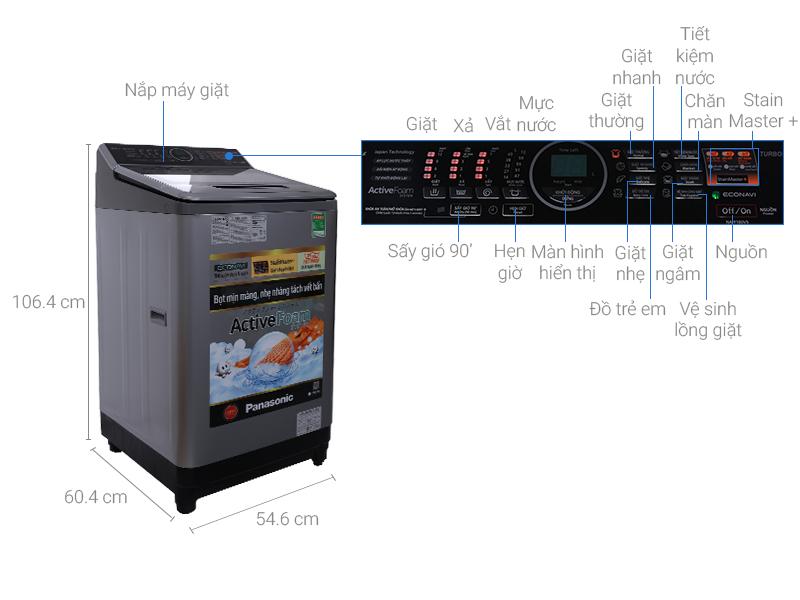 Thông số kỹ thuật Máy giặt Panasonic 10 kg NA-F100V5LRV
