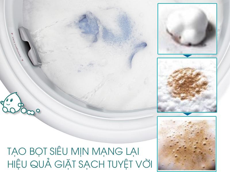 Hệ thống ActiveFoam đánh tan bột giặt thành các hạt siêu mịn, thấm sâu vào sợi vải