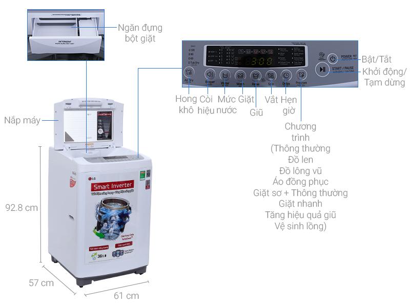 Thông số kỹ thuật Máy giặt LG 8.5 kg T2385VSPM