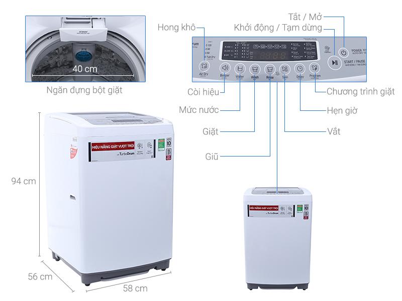 Thông số kỹ thuật Máy giặt LG Inverter 9.5 kg T2395VSPW
